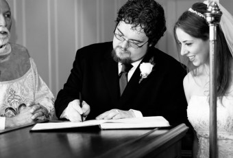 signing the wedding book