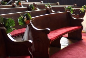 curved church bench