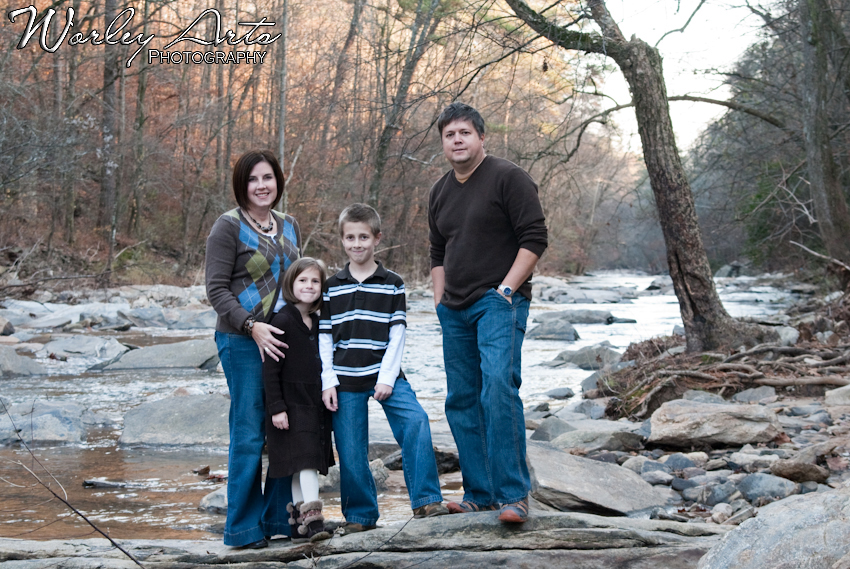 family photo on the river