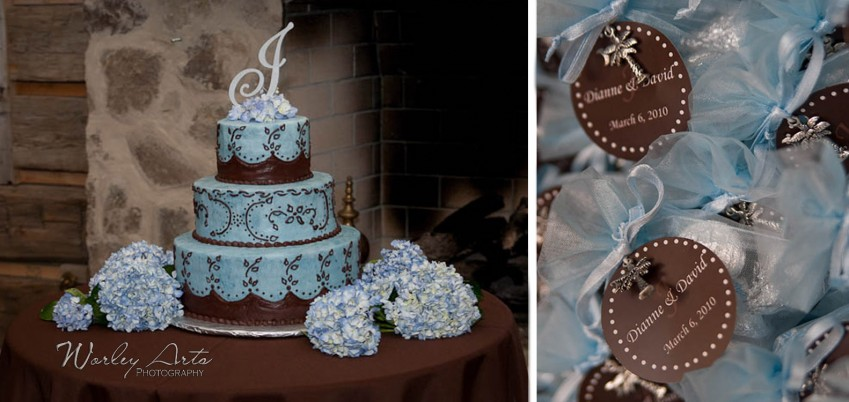 wedding cake and favors