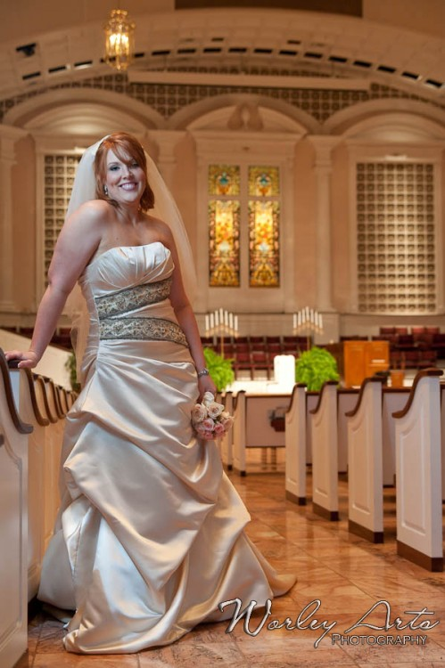 gorgeous bride and church