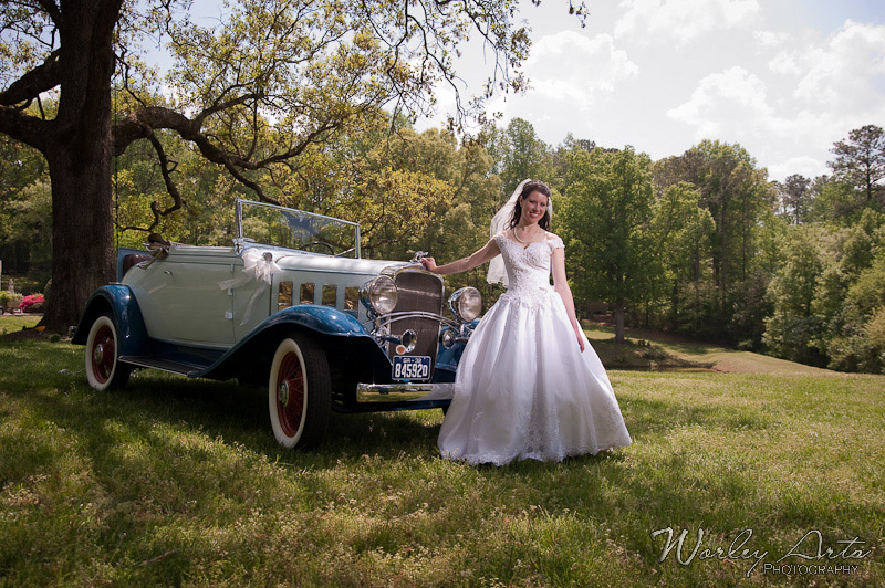 stunning bride and antique car