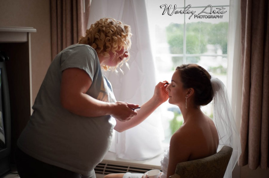 bride make-up by window light