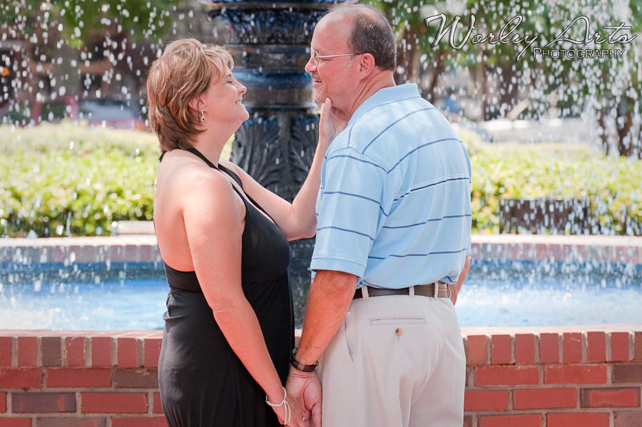 couple in front of fountain