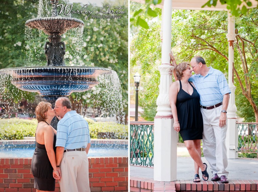 engaged couple in Marietta Square