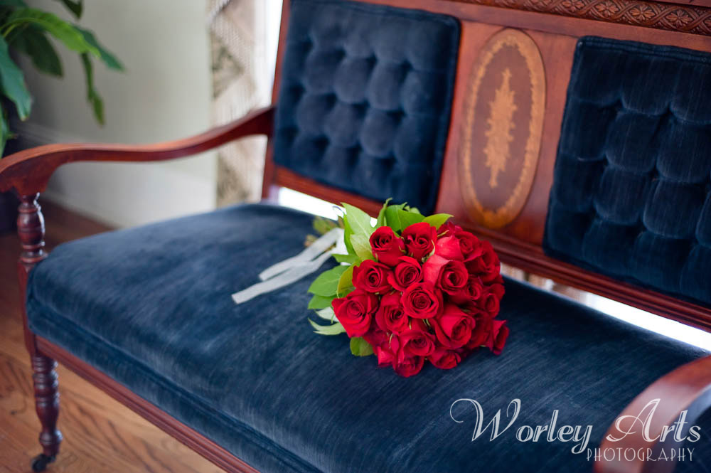 bridal bouquet on settee