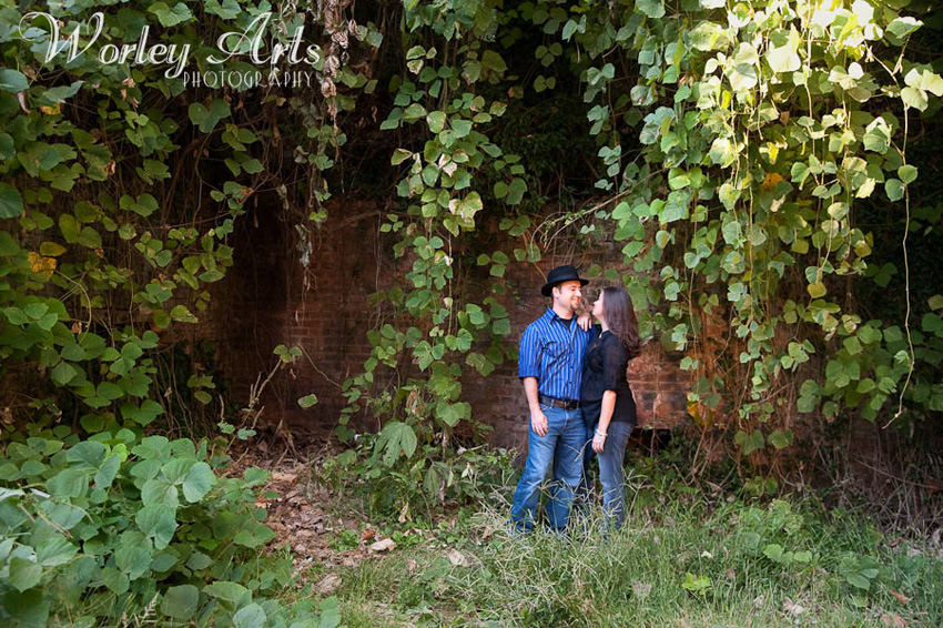 engagement session couple bricks vines