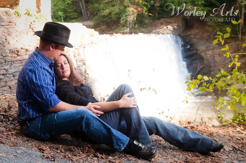 engagement session couple waterfall