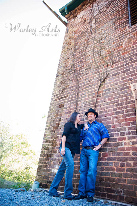 engagement session couple brick building