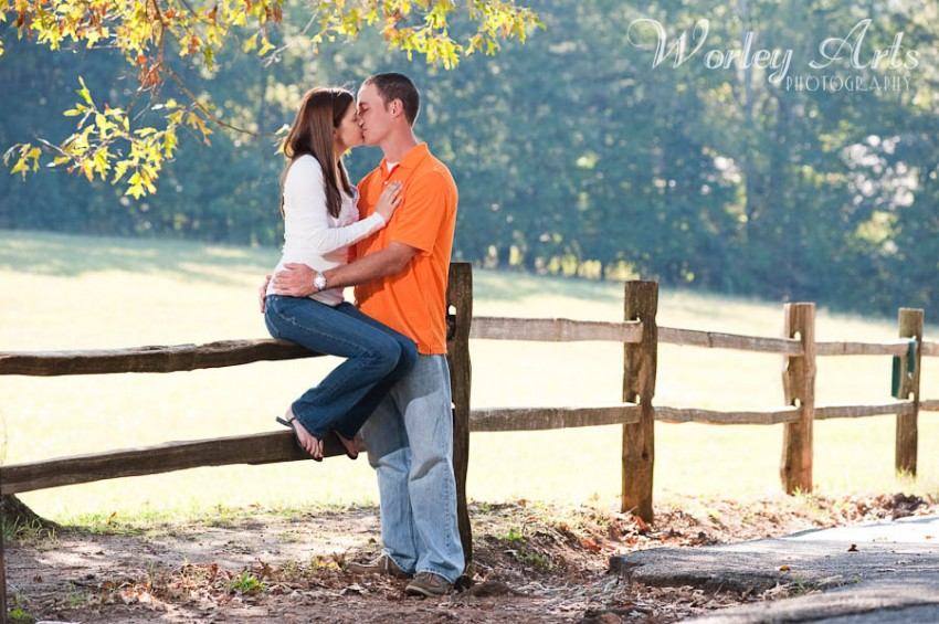 couple kissing on fence