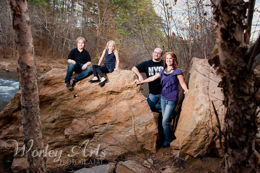 family portrait on rock