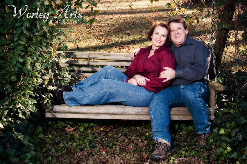 married couple on bench swing