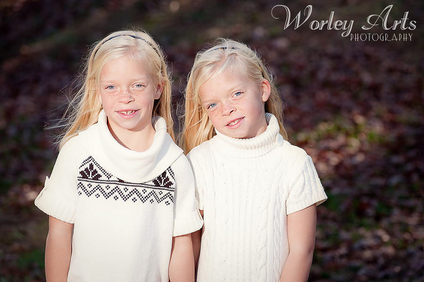 twin girls with freckles