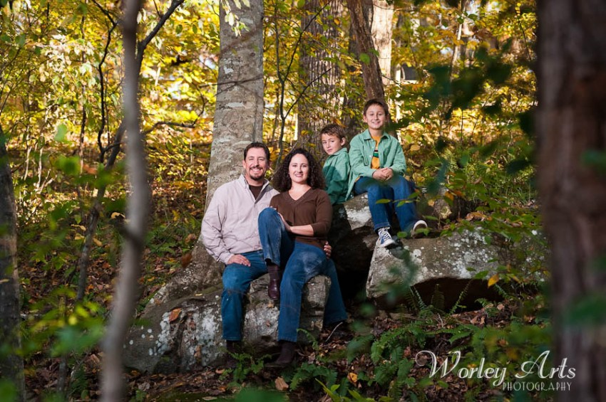 family on rock