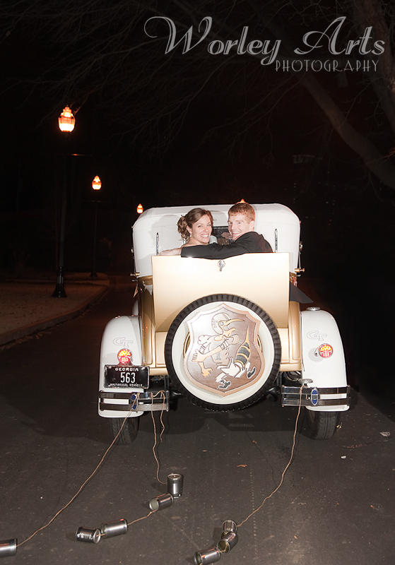 wedding couple Ramblin' Wreck Georgia Tech