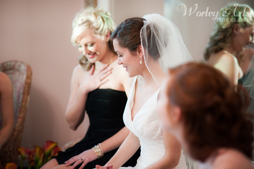 bride waits with bridesmaids