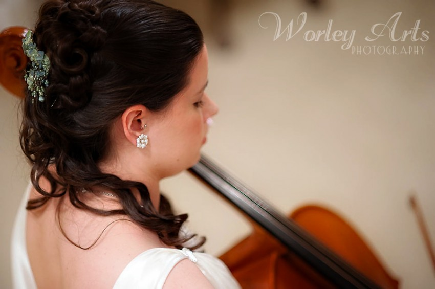 bride playing cello