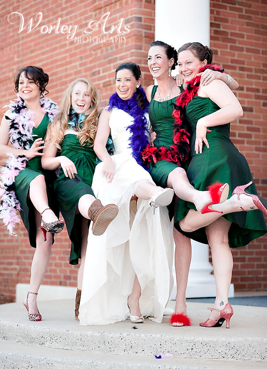 fun laughing bridesmaids funky shoes