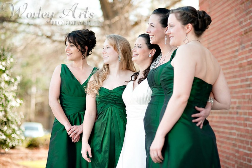 smiling bride bridesmaids