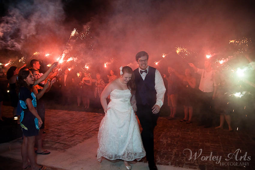 night-time sparkler exit wedding