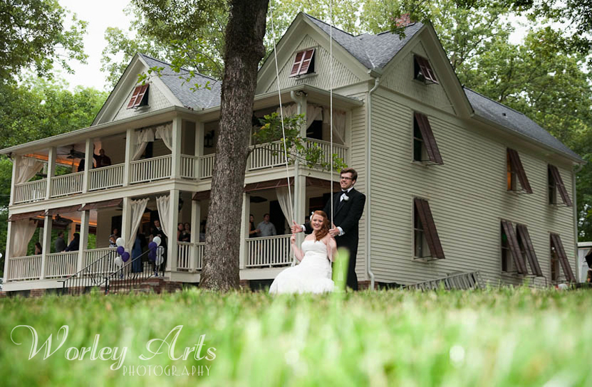 wedding couple at Wheeler House in Ball Ground