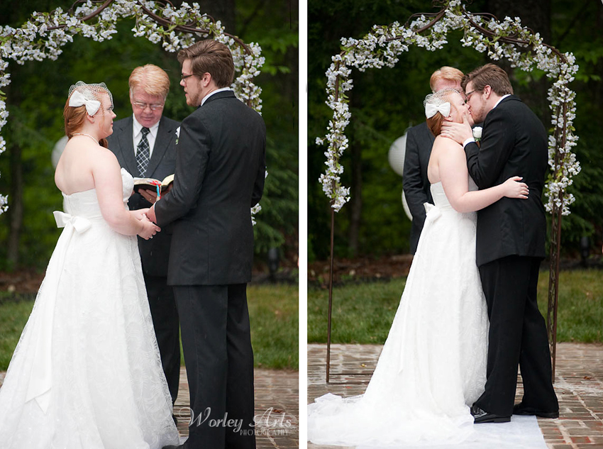 rain-sprinkled wedding ceremony and kiss