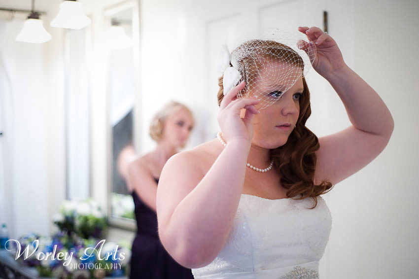 bride Amber positions her veil