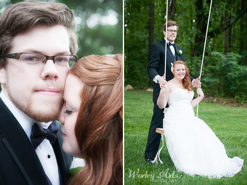 newly married couple Amber Skylar outdoor wedding