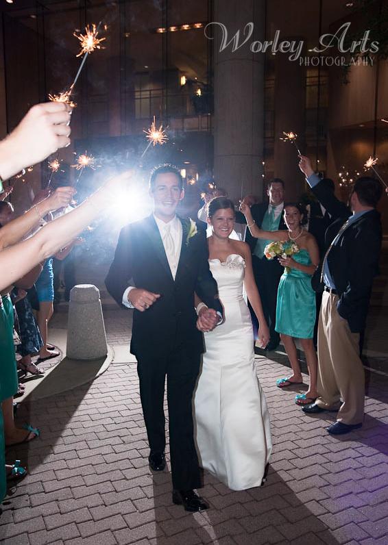 Sarah and Justin sparkler exit