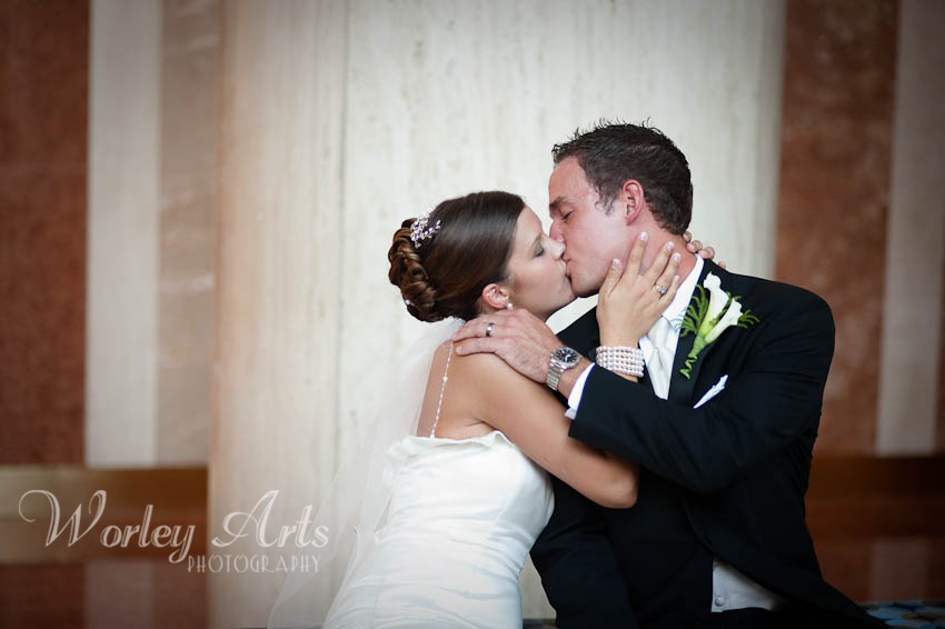 bride groom passionate kiss
